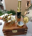 MARITIME COLLECTIBLE NAUTICAL BRASS SEXTANT COMPASS TELESCOPE W/WOODEN BOX GIFT