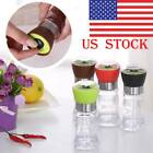 US Pepper Salt Grinder Set Mill Brushed Stainless Steel Kitchen Glass Bottle