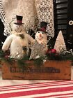 PRIMITIVE HANDMADE WINTER CHRISTMAS BETHANY LOWE SNOWMAN VINTAGE CHEESE WOOD BOX