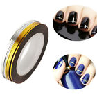 UV gel Acrylic Nail Art Strip Tape Line Tips Sticker Manicure Decal Gold+Silver