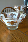 Vintage Chip Dip Bowl Set Gold Fleur De Lis Design Metal Holder  FREE US SHIP