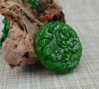 Chinese Natural jade hand-carved Dragon Phoenix Lucky Amulet Necklace Pendant