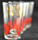 Vintage Mid Century Federal Glass Red and Gold Rooster Drinking Glasses Tumblers