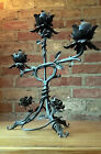 PAIR OF 20th CENTUARY HAND WROUGHT IRON THREE ARM CANDELABRA'S