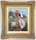 A Young Lady with Flowers Antique Oil Painting 19th Century English School