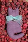 Primitive Spring Purple Wool Cat Ornie w Bow, Bird Charm, Ornament