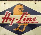 Vintage Hy-Line Advertising Two-Sided Porcelain Chick Gas Car Metal Feed Sign