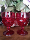 *Two* Libbey Viking Glass* Ruby Red Honeycomb Georgian Water Goblets