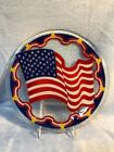 Signed Peggy Karr Fused Glass 11 Round American Flag Plate Platter