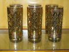 CULVER VALENCIA HIGHBALL GLASSES TUMBLERS GREEN WITH GOLD FILIGREE