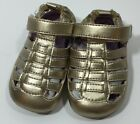 Robeez Mini Shoez Baby Infant Shoes MS When In Rome Gold Sandal Girls Size 2 New