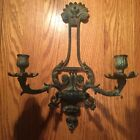 Antique Art Deco Victorian 2 Arm Wall Candle Sconce -Cast Iron w/ Great Patina !