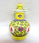 Chinese Yellow Mun Shou Longevity Porcelain Soy Sauce Server Bottle