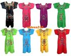 ANY COLOR Mexican Puebla Dress Embroidered FLORAL Fiesta Dress S M L XL 2X 3X