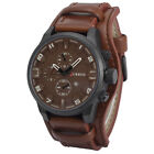 Curren Men Fashion Sport Leather Alloy Case Synthetic Date Analog Quartz Watch T