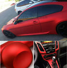 Satin Metallic Matte Chrome Vinyl Wrap Film Sticker Car Hood Bumper Laptop Red