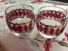 Hollywood Regency Culver Mid-Century Glassware Gold Leaf Cranberry