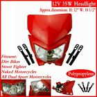 Dirt Bike Supermoto Headlight Fairing For Honda CRF450R XR230 XR125L CRF80F Red