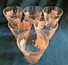 6 Vintage Hazel Atlas Pink Elephant Shot Cocktail Glasses Set Mid Century Modern