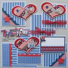 SALE Premade Scrapbook Pages Mat Set Paper Piecing THE 4TH Sewn Layout pack890