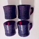 Rare Vintage Hobnail Ruby Red Glass Coffee Cups Mugs Set Of 4