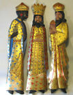 THREE KINGS Vintage MCM Set of 3 Carved Wood 29 Figures Wisemen Magi Nativity