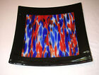 Fused Glass Square Platter Red White and Blue Direct from Artist Original