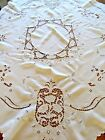 BEAUTIFUL VINTAGE WHITE COTTON EMBROIDERED BIRDS CUTWORK TEA TABLE CLOTH 52