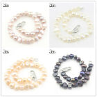 Natural 6-7mm Free Form Freshwater Pearl and Silver Plated Clasp Jewelry Bracele