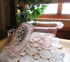 Vintage Indiana Glass LACE EDGE Pink Pedestal Candy Box / Dish with Finial Lid