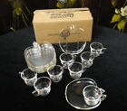 Vintage HAZEL ATLAS GLASS Orchard Crystal APPLE SHAPED Set for 8 DEMI SNACK SETS