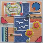 Premade Scrapbook Pages Mat Set Paper Piecing A DAY AT THE BEACH Sewn pack890