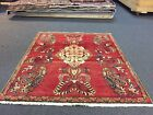 Sale Semi Antique Hand Knotted Persian Hamadan- Rug Geometric Carpet 4'5