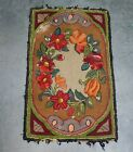 Antique American c1900 Floral Hooked Rug for Restoration AAFA 44 x 27 1/2