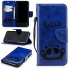 Blue hello Panda PU Leather strap case cover for iphone 9 X Samsung Note 9 K30