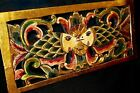 Twin Fish Wall Decor Relief Panel Hand carved wood architectural Bali Art