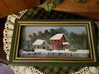 Wooden box with winter barn scene on lid under glass (0418201806)