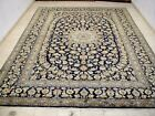 10X13 1960's EXQUISITE HAND KNOTTED MINT 200KPSI NAVY WOOL KASHAN PERSIAN RUG