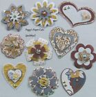SALE Handmade Scrapbooking Embellishments 10 Layered Flowers Hearts pack890
