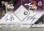 2018 Topps NOW Aaron Judge Mike Trout Game Used ASG-1A Base Auto Relic 25 Purp.