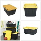 HDX 17 Gal Storage Tote in Black Tough Durable Polypropylene Plastic Snap on Lid
