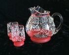 Round Glass Juice Pitcher And Two Matching Tumblers Red Bands White Swirl Design