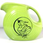 Fiesta Ware Large Disk Water Pitcher Chartreuse DANCING LADY Homer Laughlin 117