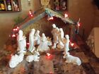 LARGE NATIVITY SCENE WITH A MANGER AND 12 CERAMIC FIGURINES