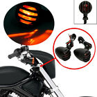 2X Red Lens MOotorcycle Black Grill Turn Signal Brake Stop Running Tail Lights