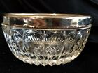 VINTAGE CLEAR GLASS DIAMOND POINT CANDY DISH WITH SILVER RIM -MADE IN ENGLAND