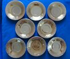 Vintage PEACH LUSTRE Fire-King Anchor Hocking Laurel Leaf SAUCER plates Set of 8