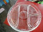Vintage clear glass starburst design divided relish tray round