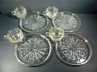 Vintage Set of (4) Glass Snack Plates with Cups and Gold Gilt
