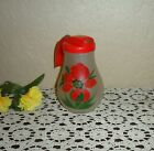 RARE VINTAGE USA HAND PAINTED RED POPPY SATIN FROSTED GLASS BATTER SYRUP PITCHER